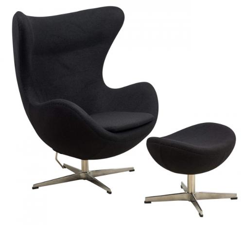 LeisureMod Arne Jacobsen Egg Chair & Ottoman in Black Wool