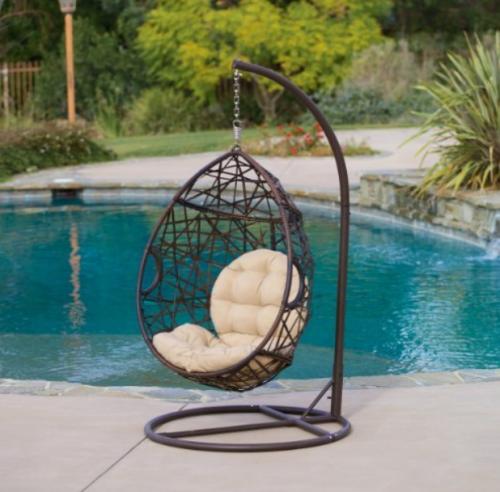 Outdoor Brown Wicker Tear Drop Hanging Chair