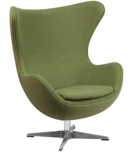 Flash Furniture Grass Green Wool Fabric Egg Chair with Tilt-Lock Mechanism