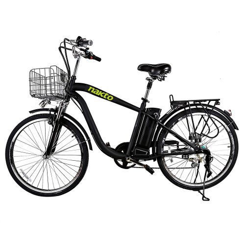 "NAKTO 26"" 250W Electric Bicycle Sporting Shimano 6 Speed Gear EBike Brushless Gear Motor with Removable Waterproof Large Capacity 36V10A Lithium Battery and Battery Charger -Class AAA"
