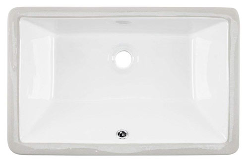 Rectangular Undermount Vanity Sink Porcelain Ceramic Lavatory Bathroom Sink