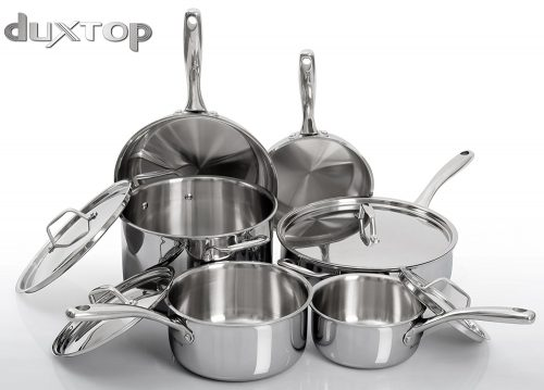 Duxtop Whole-Clad Tri-Ply Stainless Steel Induction Ready Premium Cookware, Stainless Steel Pot Sets
