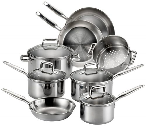 Tri-ply Stainless Steel Multi-clad Dishwasher Safe Oven Safe Cookware Set